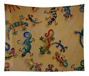 Color Lizards On The Wall Tapestry