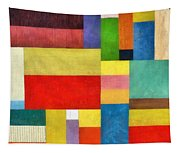 Color Panel Abstract With White Buttons Tapestry