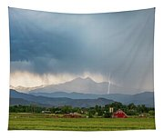 Colorado Rocky Mountain Red Barn Country Storm Tapestry