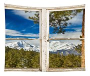 Colorado Rocky Mountain Rustic Window View Tapestry