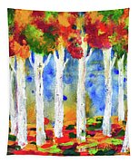 Colorful Aspen Trees View Tapestry