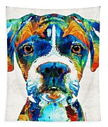Colorful Boxer Dog Art By Sharon Cummings  Tapestry