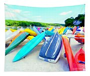 Colorful Canoes Tapestry