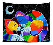 Colorful Cat In The Moonlight Tapestry