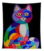 Colorful Cats And Kittens Tapestry