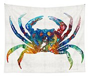 Colorful Crab Art By Sharon Cummings Tapestry
