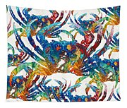 Colorful Crab Collage Art By Sharon Cummings Tapestry