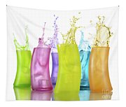 Colorful Drink Splashing From Glasses Tapestry