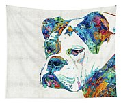 Colorful English Bulldog Art By Sharon Cummings Tapestry
