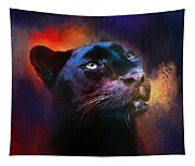 Colorful Expressions Black Leopard Tapestry