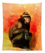 Colorful Expressions Black Monkey Tapestry