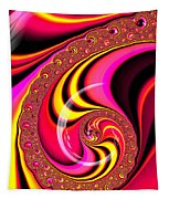 Colorful Fractal Spiral Red Yellow Pink Tapestry