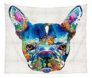 Colorful French Bulldog Dog Art By Sharon Cummings Tapestry