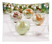 Colorful Glass Marbles Close-up Views Tapestry