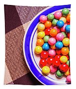 Colorful Gumballs On Plate Tapestry