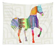 Colorful Horse 3- Art By Linda Woods Tapestry