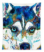 Colorful Husky Dog Art By Sharon Cummings Tapestry
