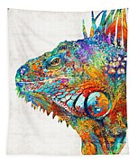Colorful Iguana Art - One Cool Dude - Sharon Cummings Tapestry