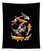 Colorful Japanese Koi Vertical Tapestry