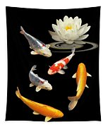 Colorful Koi With Water Lily Tapestry