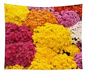 Colorful Mum Flowers Fine Art Abstract Photo Tapestry