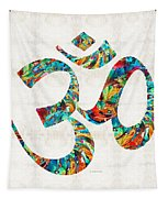 Colorful Om Symbol - Sharon Cummings Tapestry