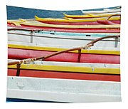 Colorful Outrigger Canoes Tapestry