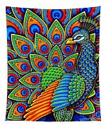 Colorful Paisley Peacock Tapestry