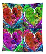 Colorful Pop Hearts Love Art By Sharon Cummings Tapestry