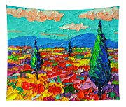 Colorful Poppies Field Abstract Landscape Impressionist Palette Knife Painting By Ana Maria Edulescu Tapestry