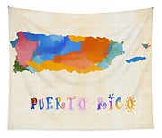 Colorful Puerto Rico Map Tapestry