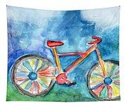Colorful Ride- Bike Art By Linda Woods Tapestry