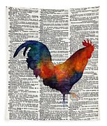 Colorful Rooster On Vintage Dictionary Tapestry