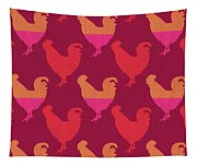 Colorful Roosters- Art By Linda Woods Tapestry