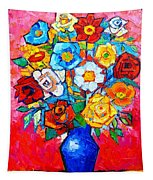 Colorful Roses And Camellias - Abstract Bouquet Of Flowers Tapestry