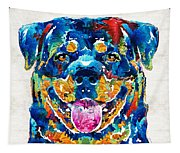 Colorful Rottie Art - Rottweiler By Sharon Cummings Tapestry