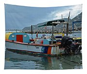 Colorful Saint Martin Power Boat Caribbean Tapestry