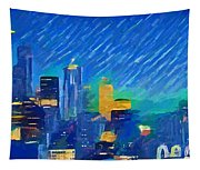 Colorful Seattle Skyline Panorama Tapestry