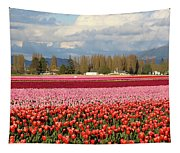 Colorful Skagit Valley Tulip Fields Panorama Tapestry