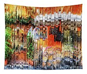 Colorful Street Cafe Tapestry