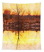 Colorful Sunrise Textured Reflections Tapestry