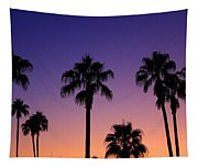 Colorful Tropical Palm Tree Sunset Tapestry