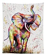Colorful Watercolor Elephant Tapestry
