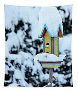 Colorful Wooden Birdhouse In The Snow Tapestry