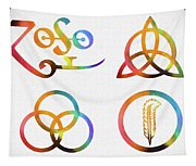 Colorful Zoso Symbols Tapestry