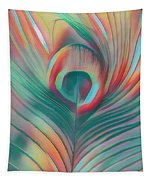 Colors Of The Rainbow Peacock Feather Tapestry