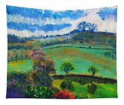 Colourful English Devon Landscape - Early Evening In The Valley Tapestry