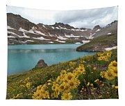 Columbine Lake And Alpine Sunflower Landscape Tapestry