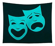 Comedy N Tragedy Aquamarine Tapestry