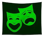Comedy N Tragedy Green Tapestry